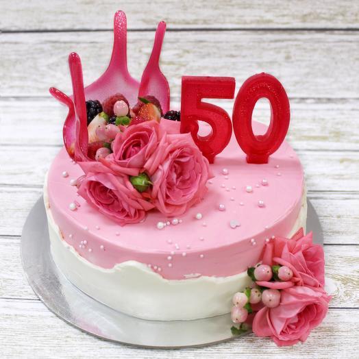 Торт на юбилей с цветами