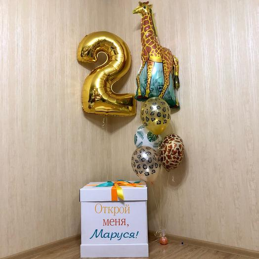 Коробка с воздушными шарами. Шар жираф