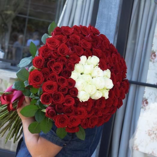 101 роза в атласной ленте (РФ, 60см)