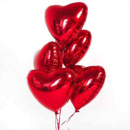 Шар сердце КРАСНЫЙ фольга с гелием 5 шт
