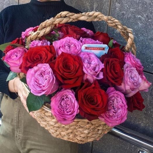 Корзинка с розами 🌺