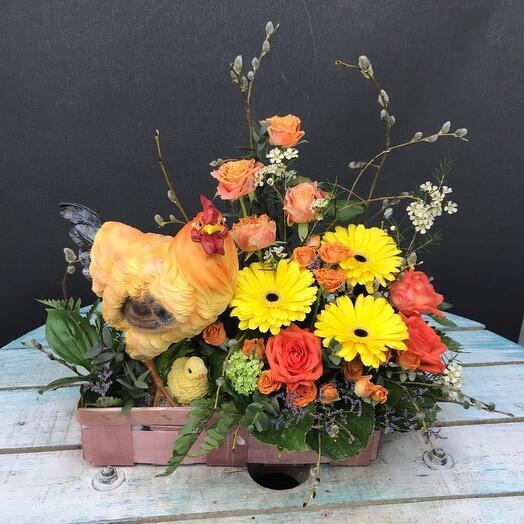 Корзина с цветами солнышко