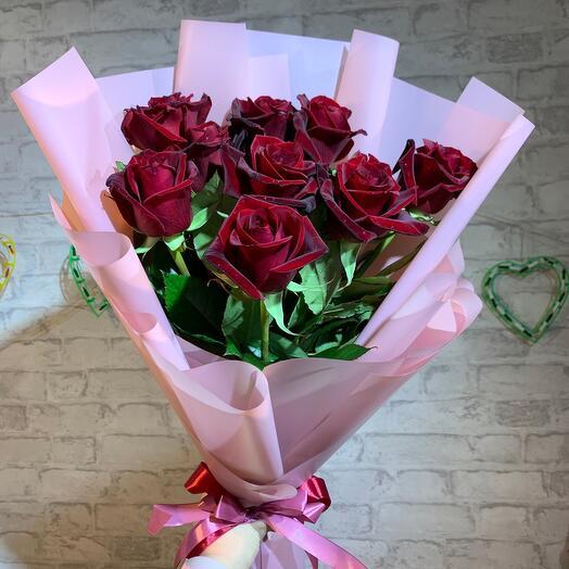 Роза Чёрная магия 9 шт