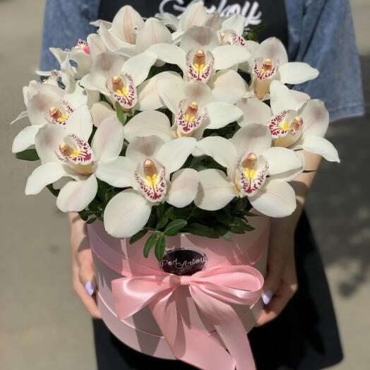 Шляпная коробка с Орхидеями M