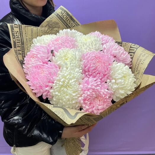 Букет Хризантема одноголовая розовая с Белой