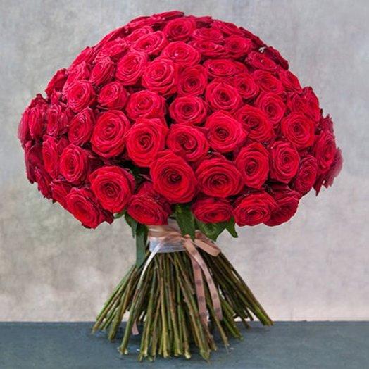Букет из 81 красной местной розы 60 см: букеты цветов на заказ Flowwow