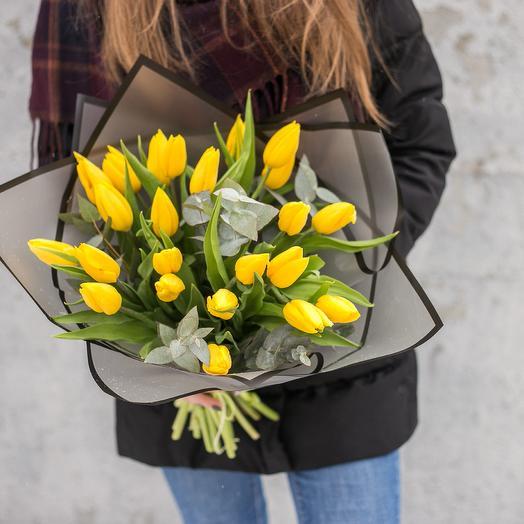 """Букет """"Весенняя палитра"""" (25 тюльпанов): букеты цветов на заказ Flowwow"""