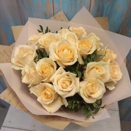 Букет из кремовое розы 17 шт: букеты цветов на заказ Flowwow