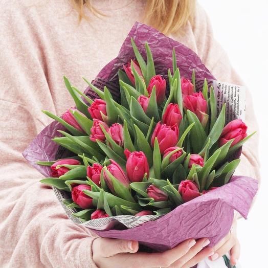 Тюльпан малиновый пионовидный  35 штук: букеты цветов на заказ Flowwow