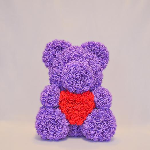 Мишка из роз с сердцем RozaRose Сиреневый - 40 см