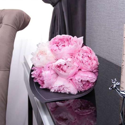 """Букет из  7 пионов """"Sarah Bernhardt"""" BLVCK: букеты цветов на заказ Flowwow"""