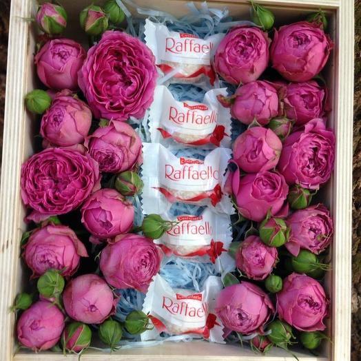 Деревянная коробочка с Мисти Баблс: букеты цветов на заказ Flowwow