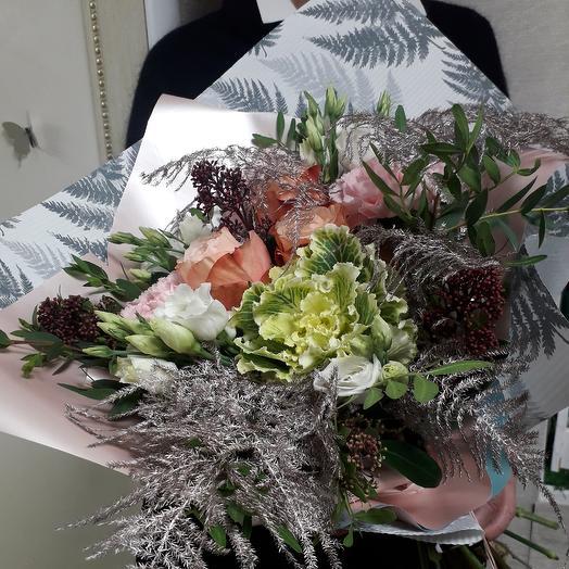 Букет с пионовидной розой Pink gold: букеты цветов на заказ Flowwow