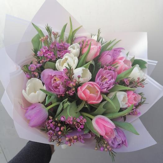 Букет с тюльпанов: букеты цветов на заказ Flowwow