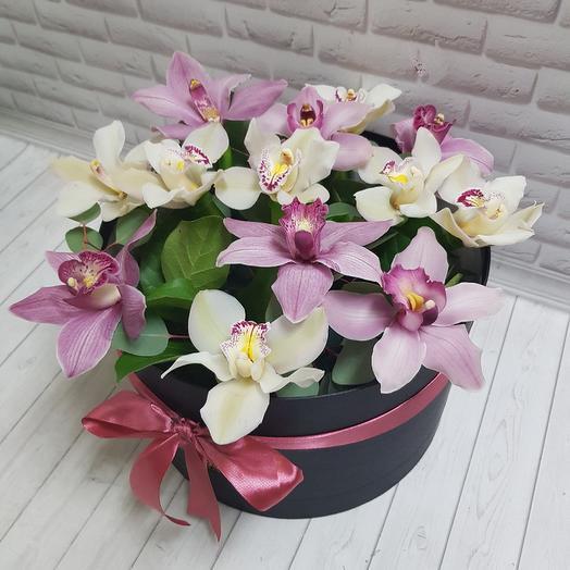 Орхидеи в шляпной коробке: букеты цветов на заказ Flowwow