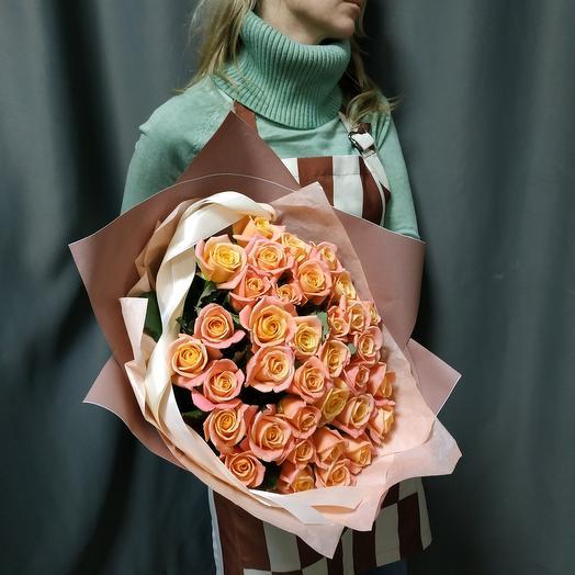 """Букет""""35 персиковых роз"""""""