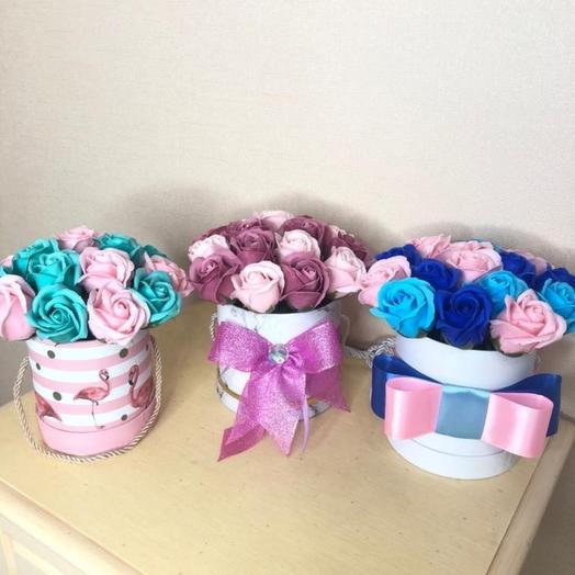 Мыльные розы в коробке. Цветы из мыла