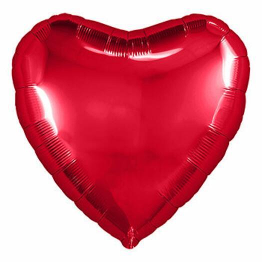 Шар с гелием фольгированный сердце металлик красный 45см