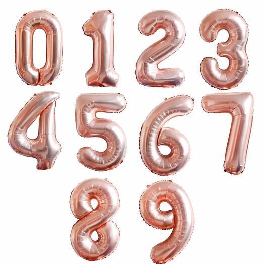Фольгированные шары розовое золото цифры