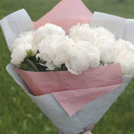 9 white peonies France