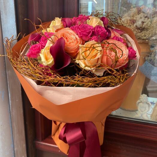 Букет цветов Розы в саду