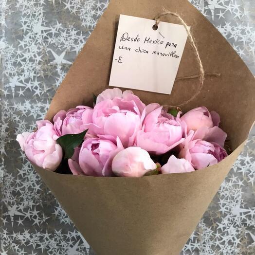 Букет пионов 9 розовых пионов