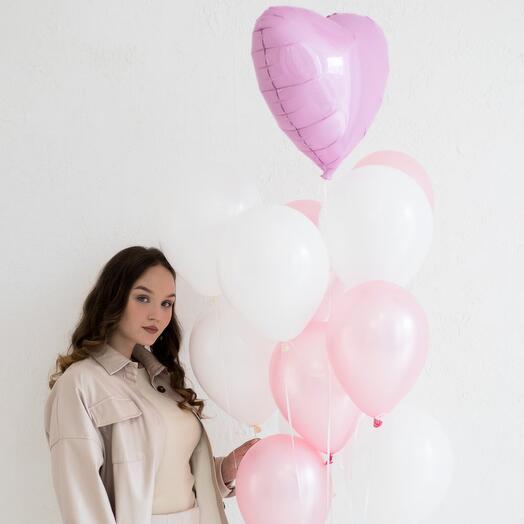 Сет шаров в бело-розовой палитре