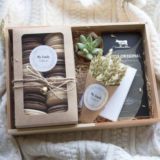 Мужской набор Wood Box 04арт1637: букеты цветов на заказ Flowwow