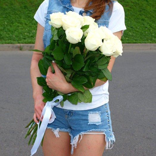 Букет из 15 белых роз 70 см: букеты цветов на заказ Flowwow