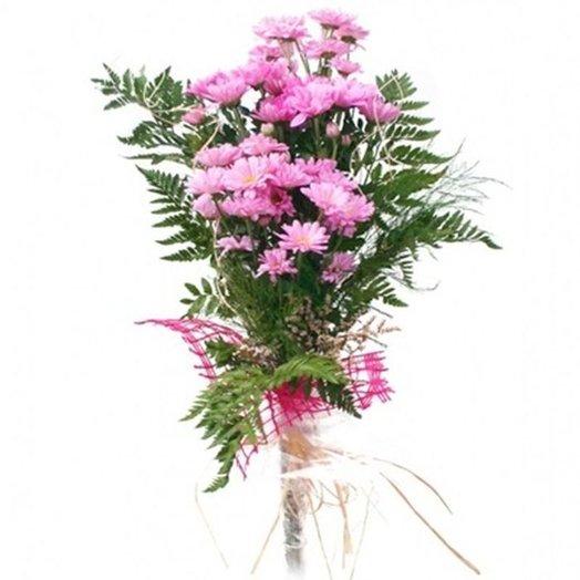 5 кустовых хризантем с зеленью. код 180044: букеты цветов на заказ Flowwow