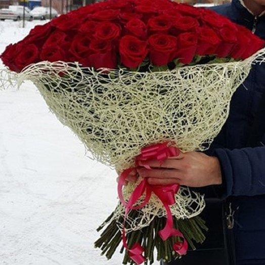 61 роза Престиж 70см: букеты цветов на заказ Flowwow