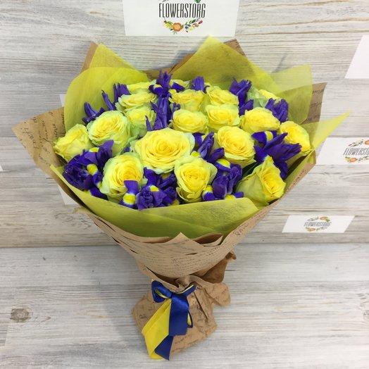 Розы Желтые. Ирисы.  N105: букеты цветов на заказ Flowwow