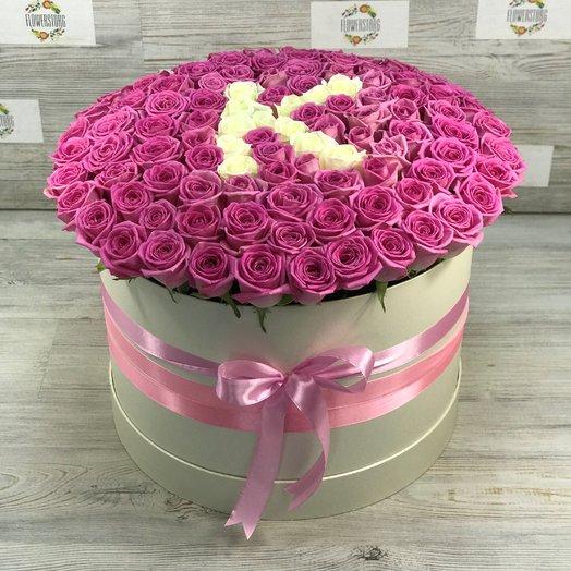 Коробка XXL из 101 розовой розы. Буква из роз. N155