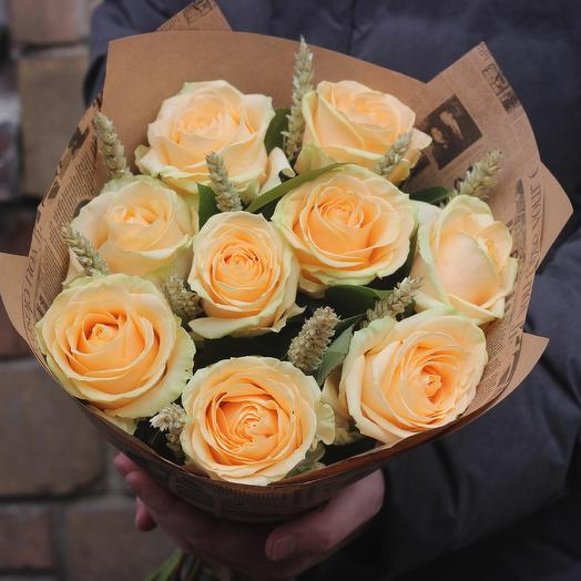 Розы с пшеницей: букеты цветов на заказ Flowwow