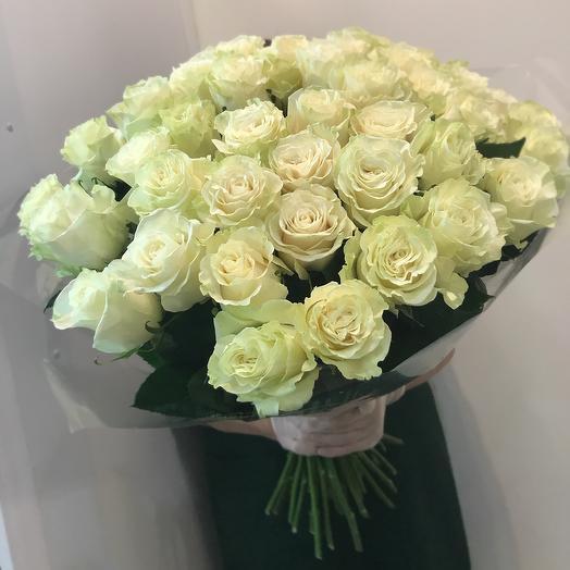 51 белая роза Premium: букеты цветов на заказ Flowwow