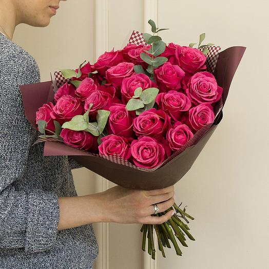 "Букет из ""Малиновых роз"": букеты цветов на заказ Flowwow"
