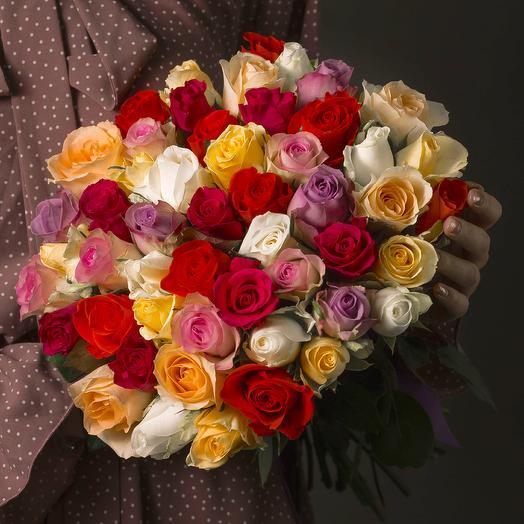"""Букет """"51 Разноцветная Роза"""": букеты цветов на заказ Flowwow"""