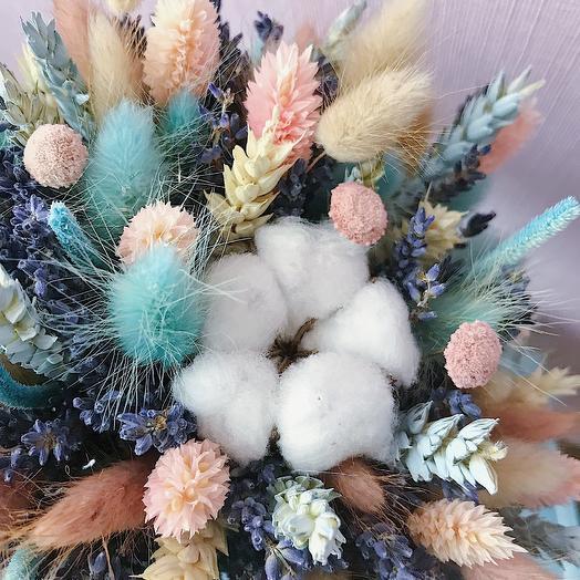 """8 """"Персик и голубой"""" (XS): букеты цветов на заказ Flowwow"""