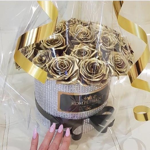 Золотые розы: букеты цветов на заказ Flowwow