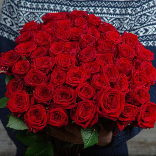 Букет из 51 красной розы, длина 60 см
