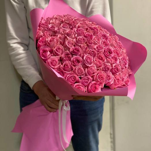 101 розовая роза Премиум