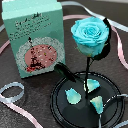 Роза в колбе цвет бирюзовый