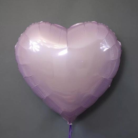 Шар с гелием сердце металлик розовый
