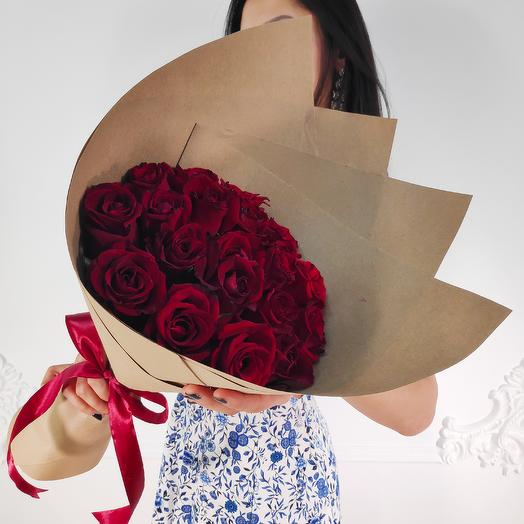 19 Красных роз Premium(коробка конфет в подарок, условие в описании)