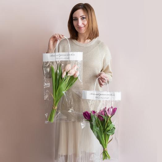 Букет из Тюльпанов в прозрачном пакетике