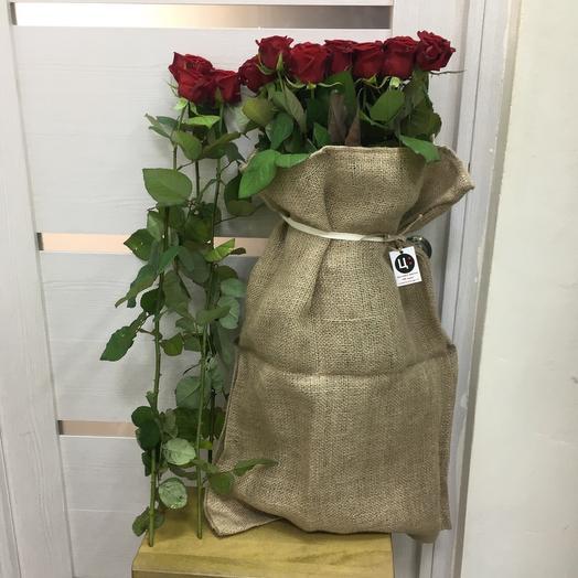 Валькирия - 21 Ароматная Роза в Джутовом Мешке