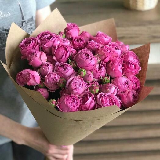 Букет из кустовых пионовидных роз Масти Баблс