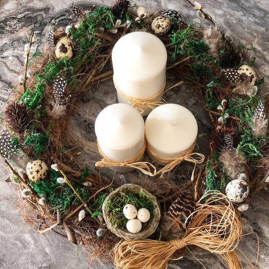 Пасхальная композиция Венок с гнездом