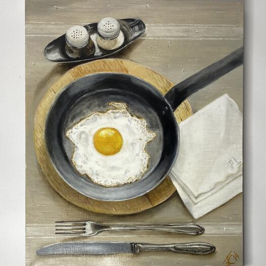 """Картина """"Яичница"""" 50*40 см. масло, холст"""