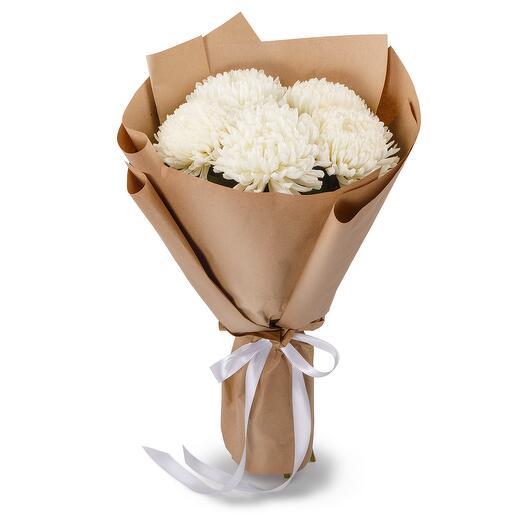 Букет из 5 белых хризантем Сингл